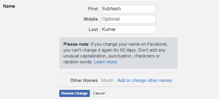 फेसबुक पर अपना नाम कैसे बदलें (1)
